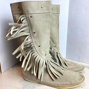 Vintage Minnetonka Gray Suede Fringe Boots
